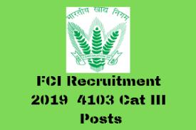 FCI Recruitment 2019 : 4103 JE Posts